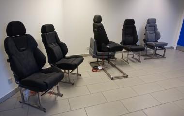 Vores showroom hvor kunder har mulighed for at afprøve vores specialsæder og drejekonsoller.